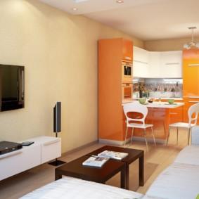 кухня гостиная 22 квадратных метра фото