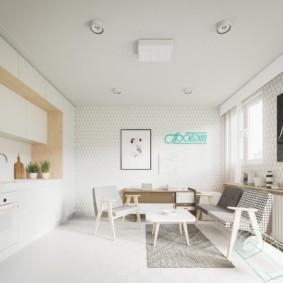 кухня гостиная 22 квадратных метра интерьер