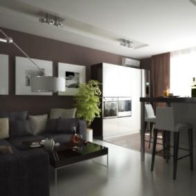 кухня гостиная 22 квадратных метра интерьер фото