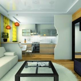кухня гостиная 22 квадратных метра оформление фото