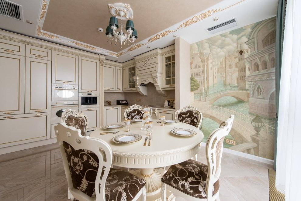 кухня с круглым столом фото декора