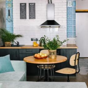кухня с круглым столом идеи дизайна