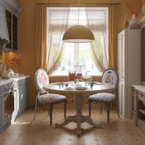 кухня с круглым столом идеи фото