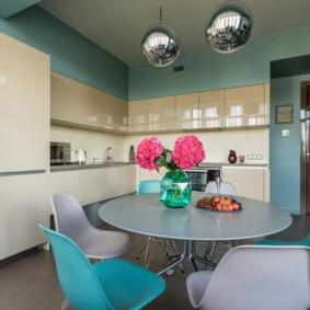 кухня с круглым столом варианты фото