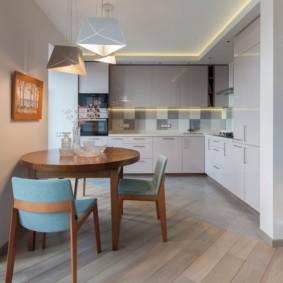 кухня с круглым столом виды