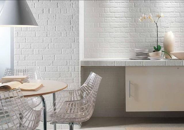 дизайн кухни с вентиляционным коробом кирпичная отделка