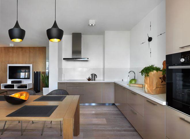 современный дизайн кухни с вентиляционным коробом