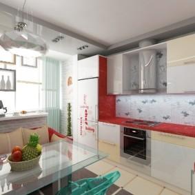 кухня совмещенная с балконом декор