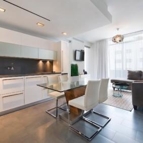 кухня совмещенная с балконом дизайн фото