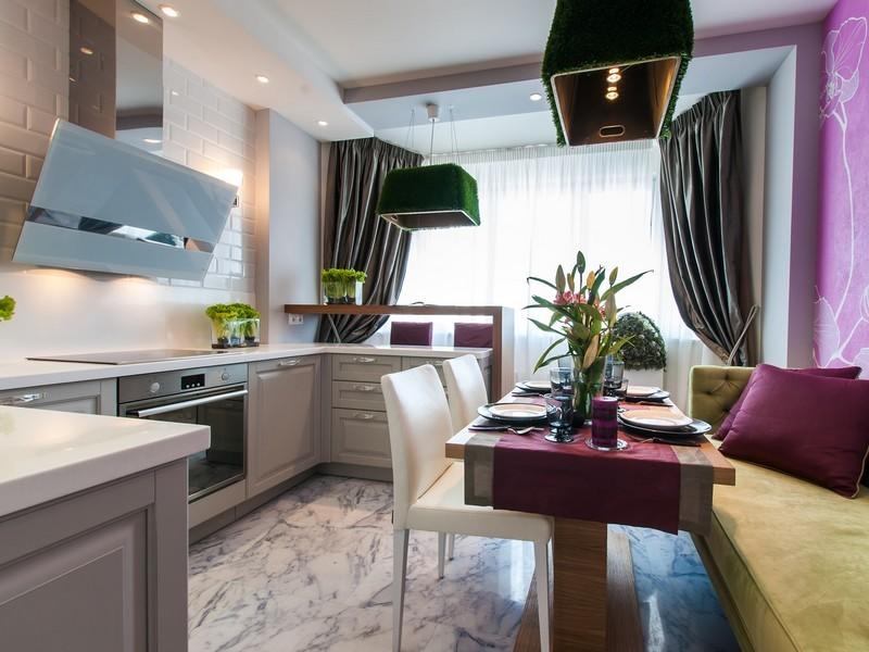кухня совмещенная с балконом фото оформления