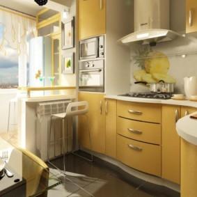 кухня совмещенная с балконом идеи декор