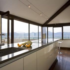 кухня совмещенная с балконом идеи интерьер