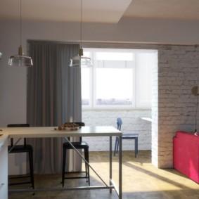 кухня совмещенная с балконом оформление фото