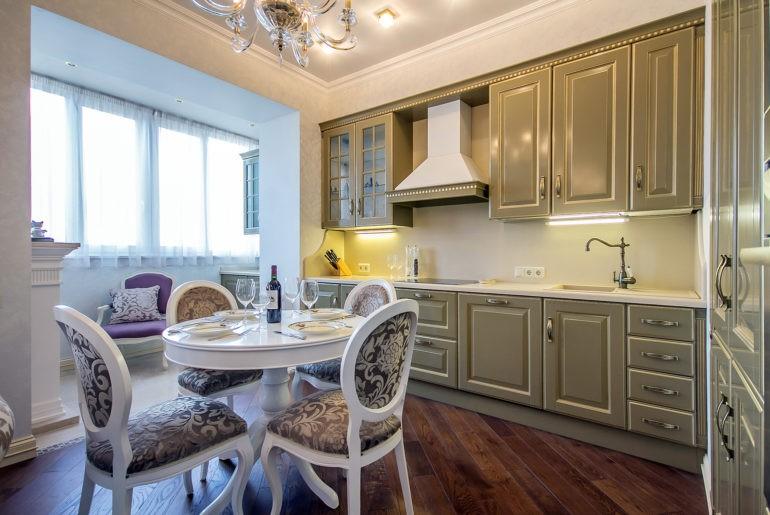 кухня совмещенная с балконом виды