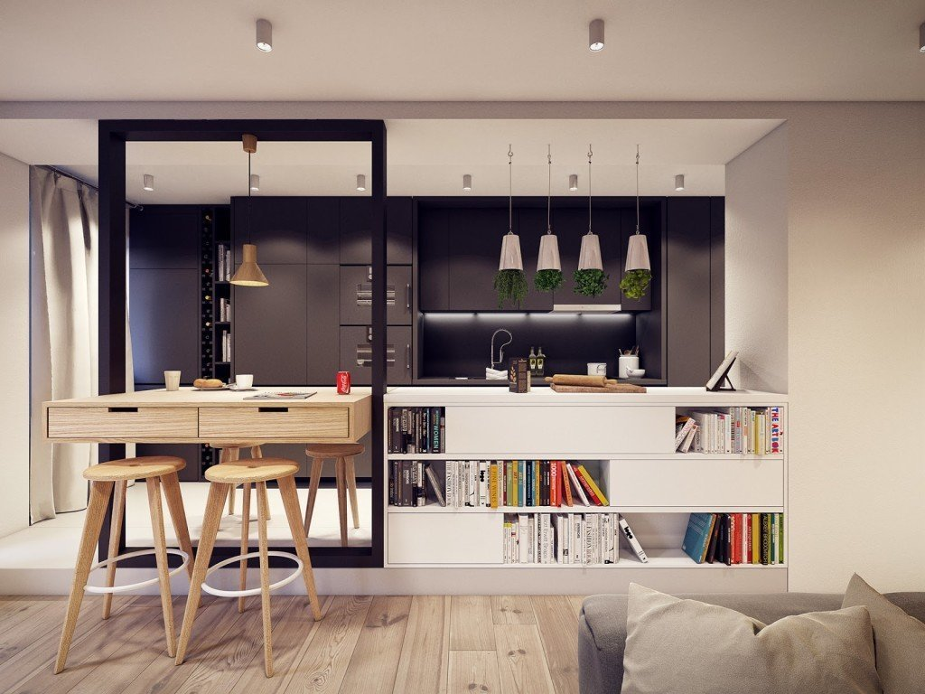 кухня студия в квартире идеи декора