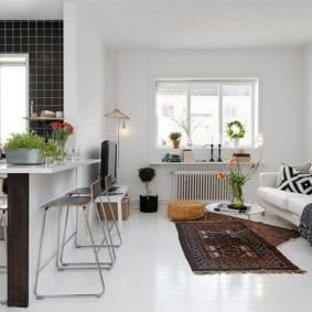 кухня студия в квартире виды