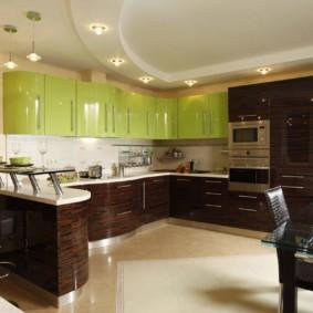 кухонный гарнитур с барной стойкой фото оформление