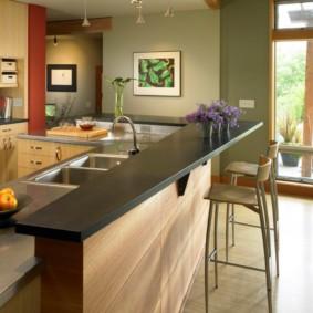 кухонный гарнитур с барной стойкой идеи декор