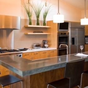 кухонный гарнитур с барной стойкой идеи декора