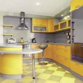 кухонный гарнитур с барной стойкой идеи интерьер