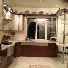 кухонный гарнитур с барной стойкой интерьер