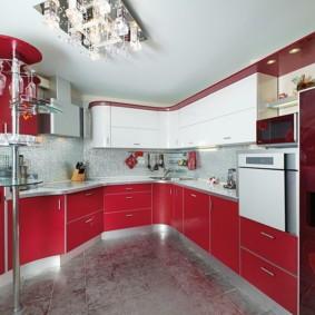 кухонный гарнитур с барной стойкой оформление