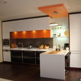 кухонный гарнитур с барной стойкой оформление идеи