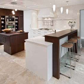 кухонный гарнитур с барной стойкой варианты