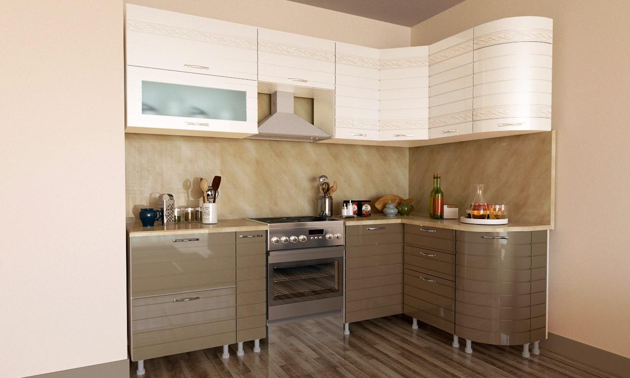 кухонный гарнитур в цвете ваниль и крем-брюле дизайн фото