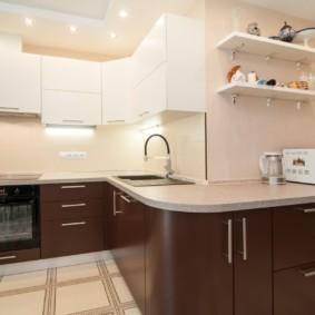 кухонный гарнитур в цвете ваниль и крем-брюле фото вариантов