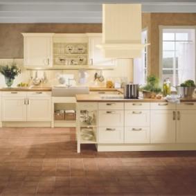 кухонный гарнитур в цвете ваниль и крем-брюле фото видов