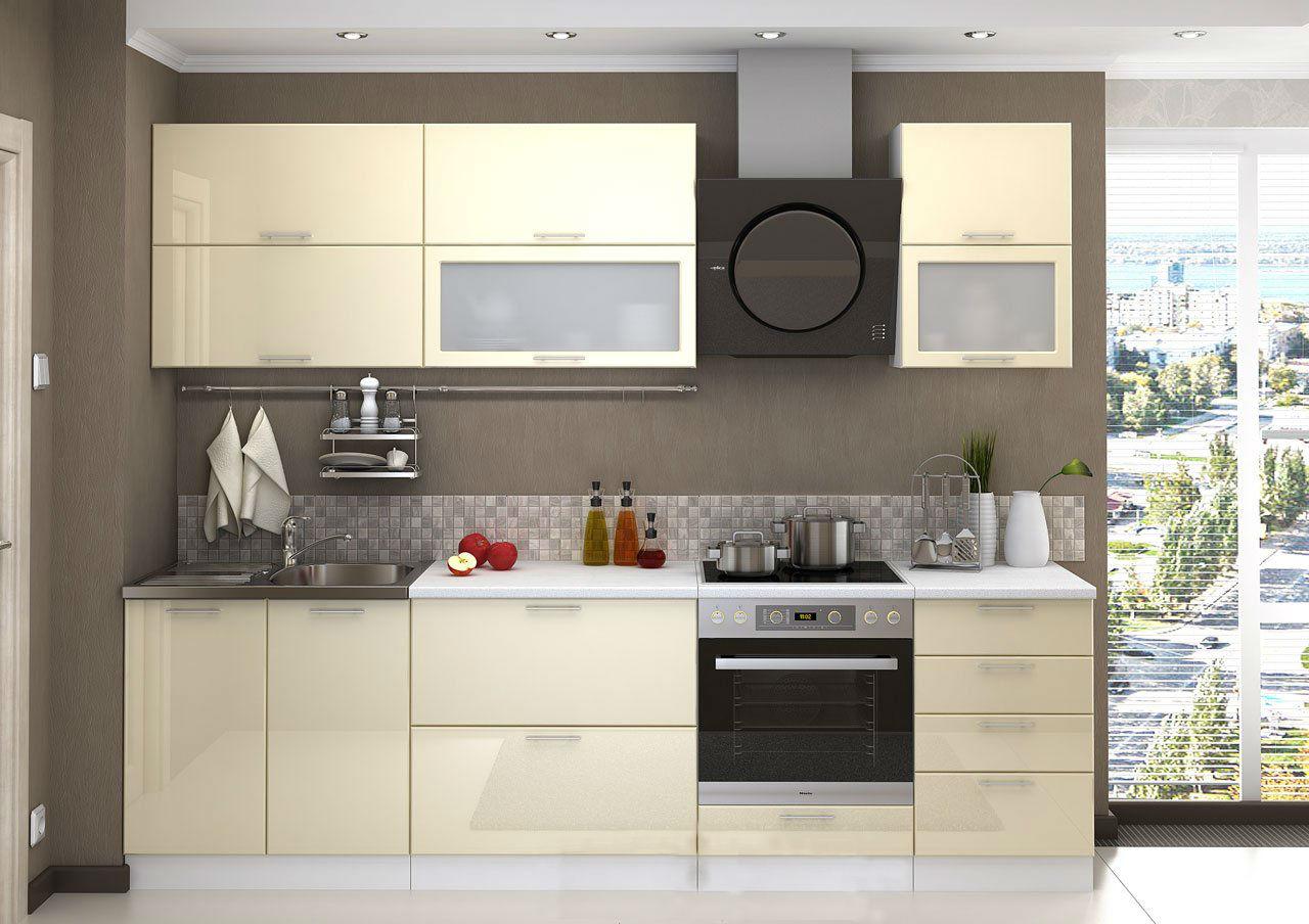 кухонный гарнитур в цвете ваниль и крем-брюле фото виды