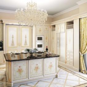 кухонный гарнитур в цвете ваниль и крем-брюле идеи