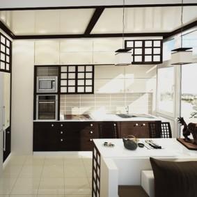 кухонный гарнитур в цвете ваниль и крем-брюле оформление фото