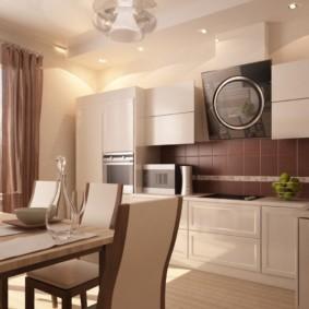 кухонный гарнитур в цвете ваниль и крем-брюле оформление идеи