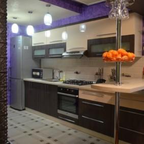кухонный гарнитур в цвете ваниль и крем-брюле виды