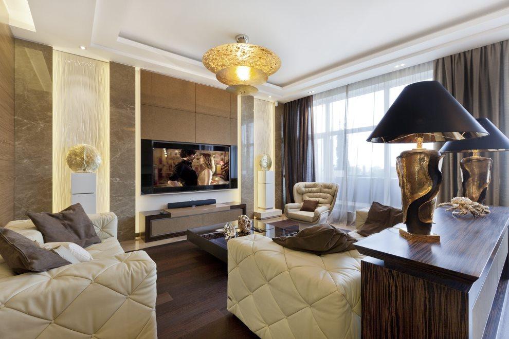 Коричневый цвет в интерьере гостиной стиля арт-деко