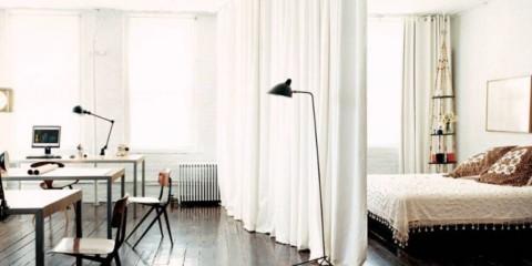 однокомнатная квартира с кроватью и диваном идеи фото