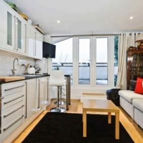 однокомнатная квартира с кроватью и диваном идеи интерьера