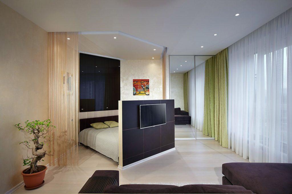 однокомнатная квартира с кроватью и диваном идеи