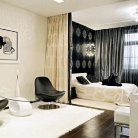 однокомнатная квартира с кроватью и диваном интерьер идеи