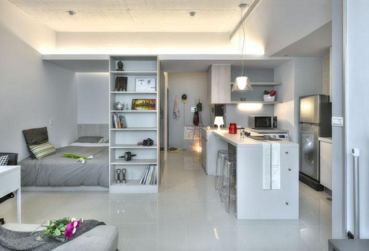 однокомнатная квартира с кроватью и диваном виды декора