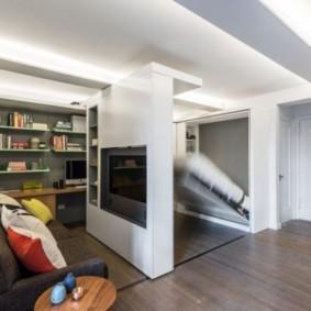 однокомнатная квартира с кроватью и диваном виды дизайна