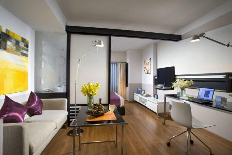 однокомнатная квартира с кроватью и диваном виды идеи