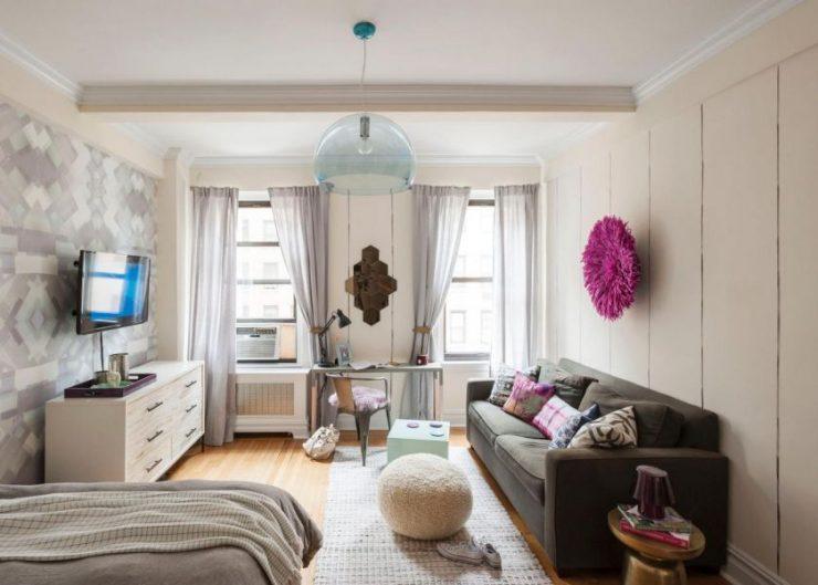 однокомнатная квартира с кроватью и диваном виды