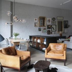 квартира студия в стиле лофт декор