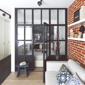 квартира студия в стиле лофт дизайн