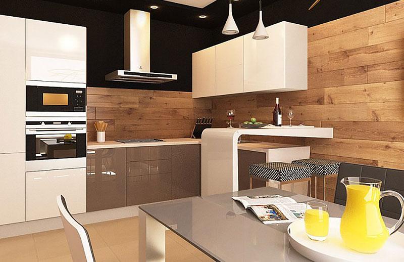 Кухня в стиле минимализма с ламинатом на фартуке