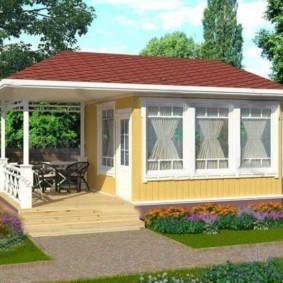 Проект летнего домика с открытой террасой