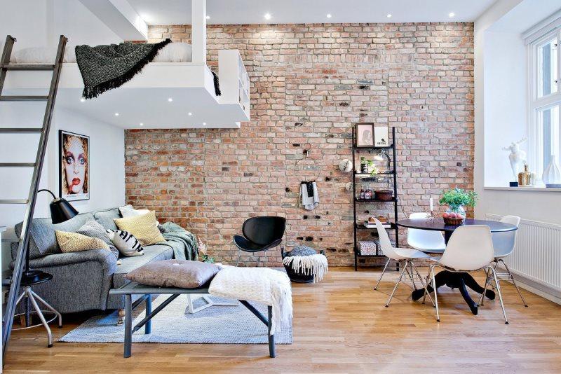 Интерьер квартиры-студии 20 кв м в стиле лофта с мезонином